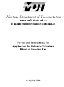 Forms And Instructions For Application Form For Refund Of Montana Diesel Or Gasoline Tax