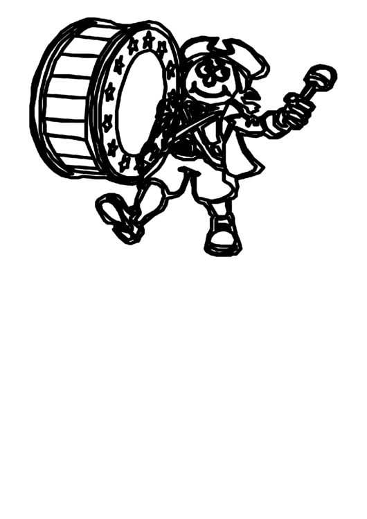 Drummer Patriotic Coloring Sheet