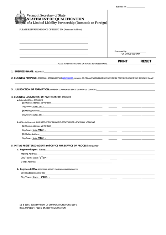 Form Llp-1 - Statement Of Qualification Of A Limited Liability Partnership (domestic Or Foreign)