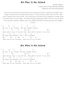 Alex Kramer & Joan Whitney - No One Is An Island Guitar Chord Chart