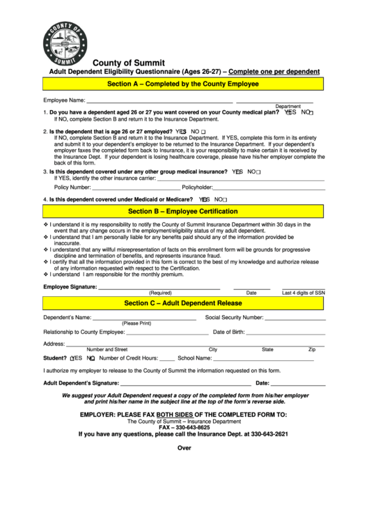 Adult Dependent Eligibility Questionnaire (Ages 26-27 ...