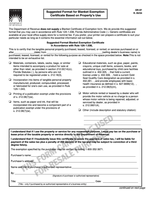Form Dr-97 - Suggested Format For Blanket Exemption Certificate Based On Property