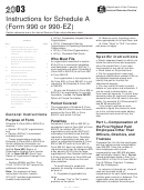 Instructions For Schedule A (form 990 Or 990-ez) - 2003
