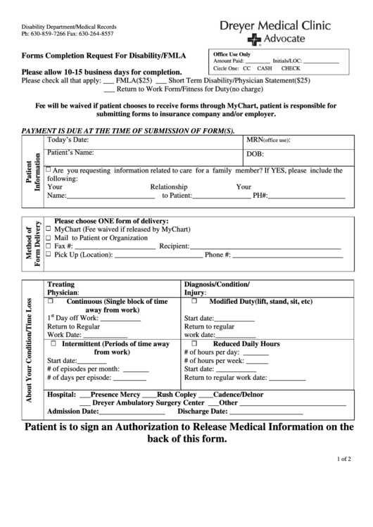 Forms Completion Request For Disability/fmla - Dryer Medical Clinic
