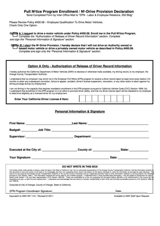 Pull Notice Program Enrollment / No-Drive Provision