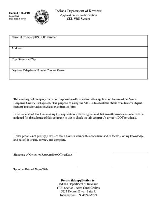 Form Cdl-vru - Application For Authorization Cdl Vru System