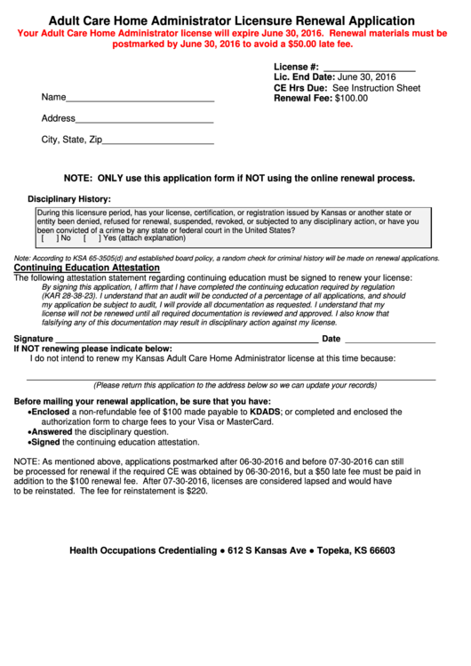 Adult Care Home Administrator Licensure Renewal Application Form