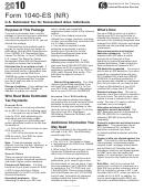 Form 1040-es (nr) - Estimated Tax Payment Voucher - 2010