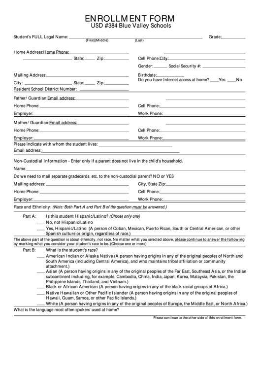 enrollment form printable pdf download