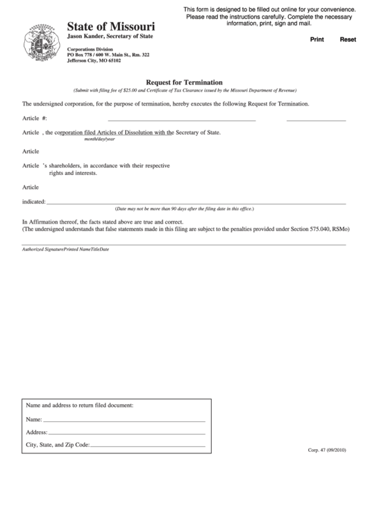 Form Corp. 47 - Request For Termination, Form 943 - Request For Tax Clearance