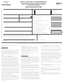 Form Mw506nrs - Return Of Income Tax Withholding For Nonresident Sale Of Real Property - 2011