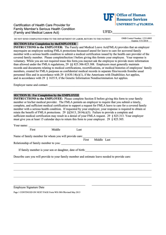 Form Wh-380-f - Certification Of Health Care Provider For Family Member's Serious Health Condition (family And Medical Leave Act)