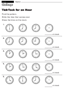 Tick-tock For An Hour - Kids Activity Sheet With Answers