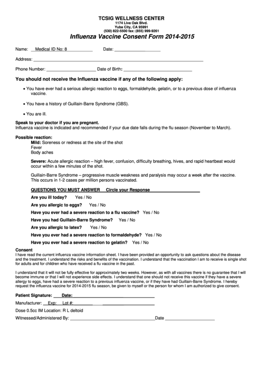 Influenza Vaccine Consent Form 2014 2015