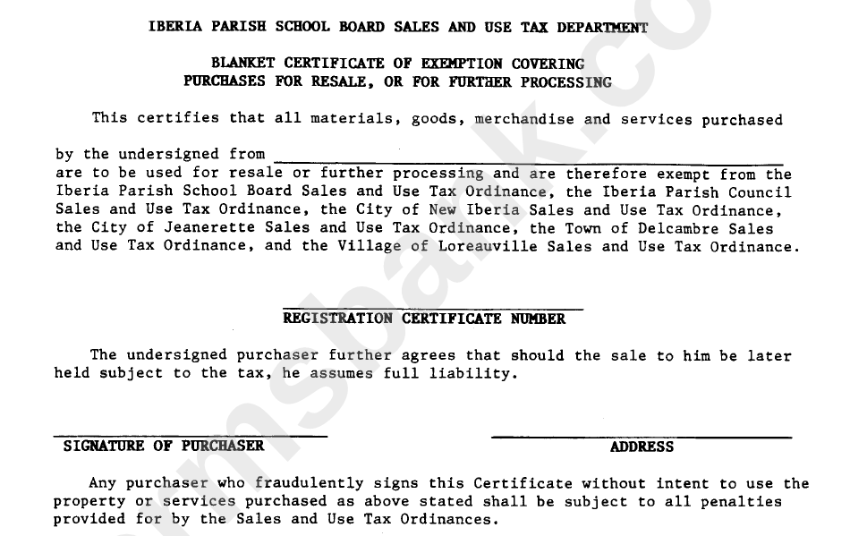 Blanket Certificate Of Exemption Covering Purchases For Resale Or
