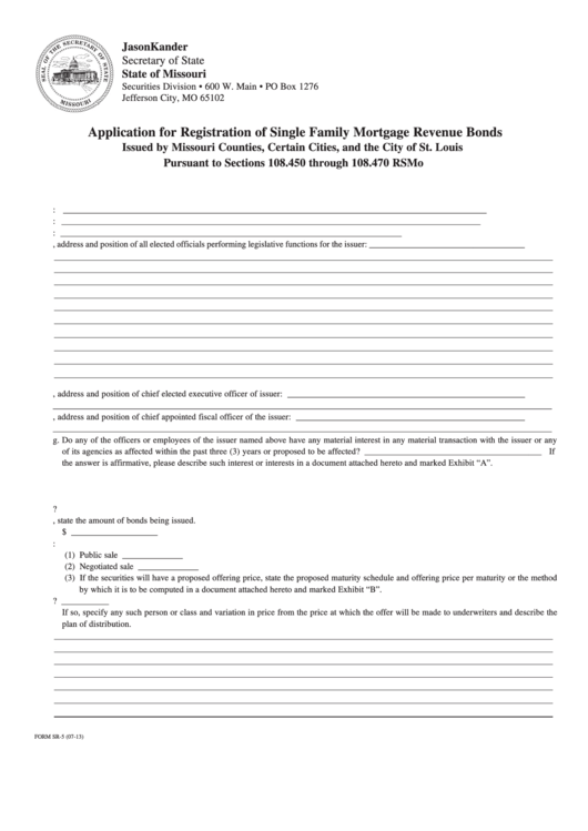 Form Sr-5 - Application For Registration Of Single Family Mortgage Revenue Bonds