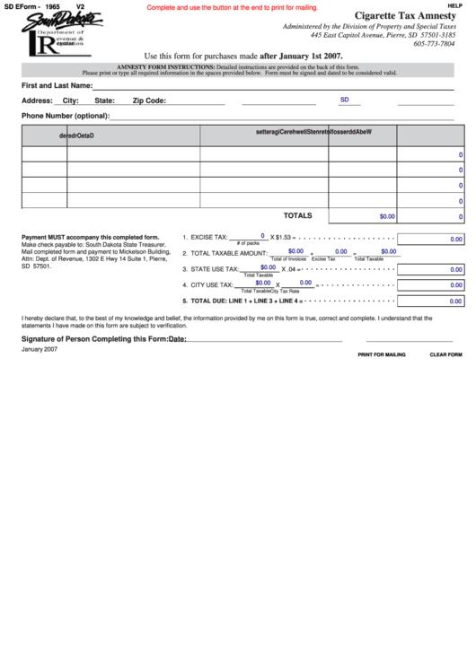Fillable Sd Eform - 1965 - Cigarette Tax Amnesty January 2007 Printable pdf