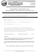 Transient Lodgings Tax Government Exemption Certificate Form - City Of Portland,oregon