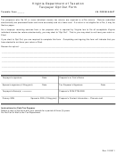 Va Form 8454t - Taxpayer Opt Out Form - Virginia Department Of Taxation