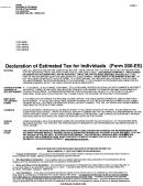 Form 200es - Declaration Of Estimated Tax For Individuals