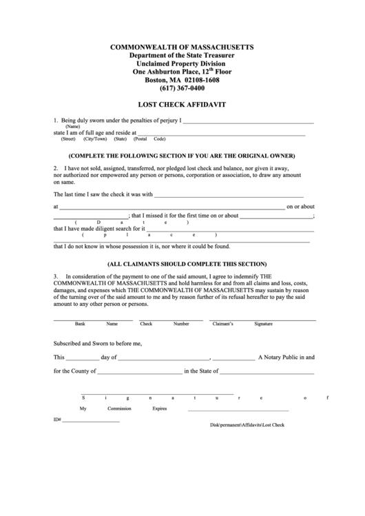 Lost Check Affidavit Form