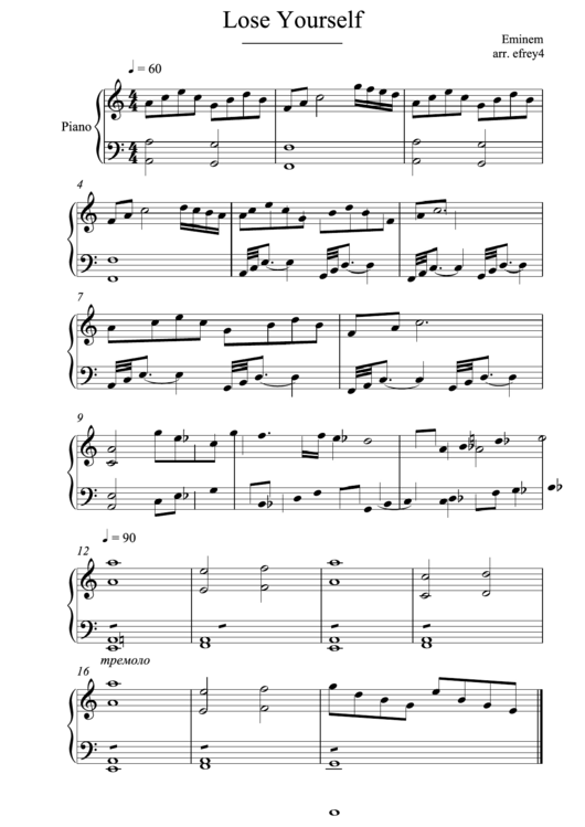 Eminem - Lose Yourself Piano Sheet