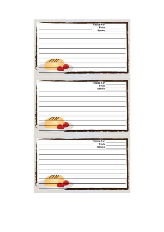 White Dessert Recipe Card Template Printable pdf