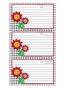 Flowers Black Gingham Recipe Card Template