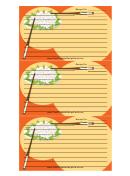 Red Chopsticks Recipe Card Template
