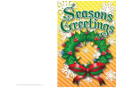 Seasons Greetings Wreath Card Template