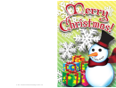 Christmas Frosty Snowman Card Template