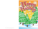 Happy Holidays Winter Trees Card Template