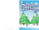 Seasons Greetings Winter Trees Card Template
