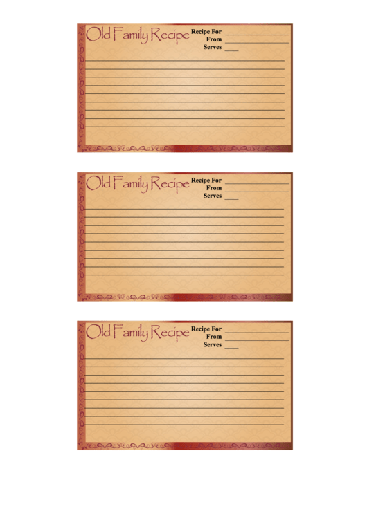 Old Family 3x5 Recipe Card Template Printable pdf