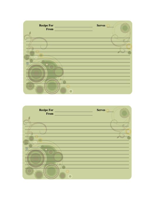 Recipe Card Template Printable pdf