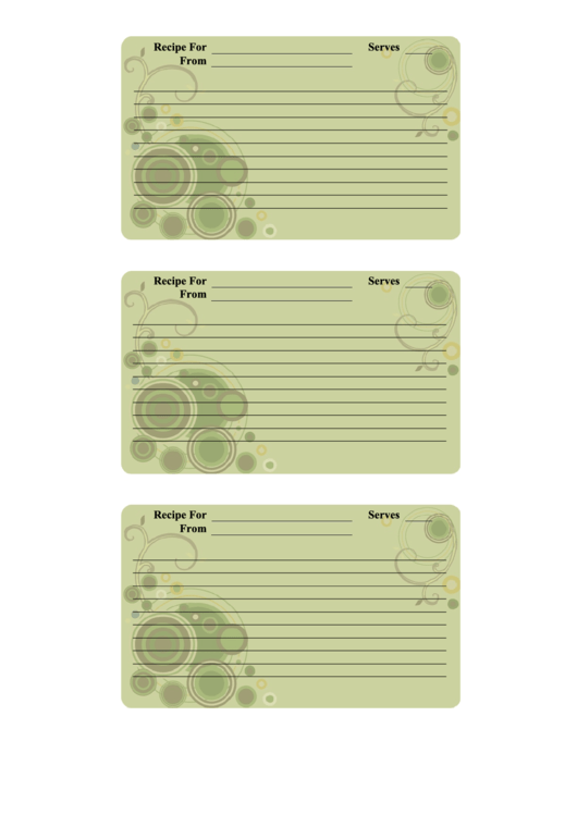 Recipe Card Template Printable pdf