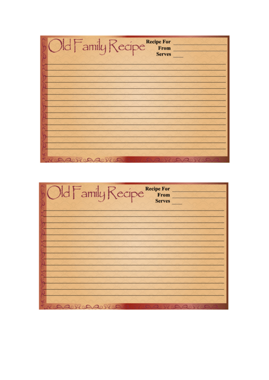 Old Family Recipe Card Template Printable pdf
