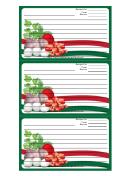 Italian Meat Eggs Herbs Green Recipe Card Template