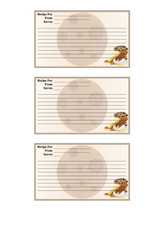 Cookies Recipe Card Template Printable pdf