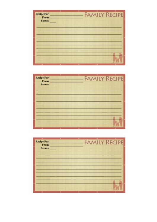 Family Recipe Card Template Printable pdf