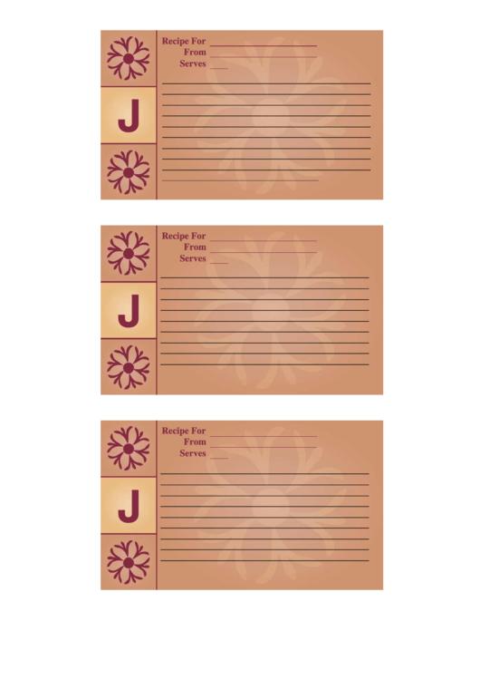 Alphabet - J 3x5 - Lined Recipe Card Template