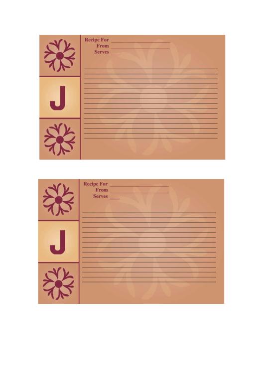 Alphabet - J 4x6 - Lined Recipe Card Template