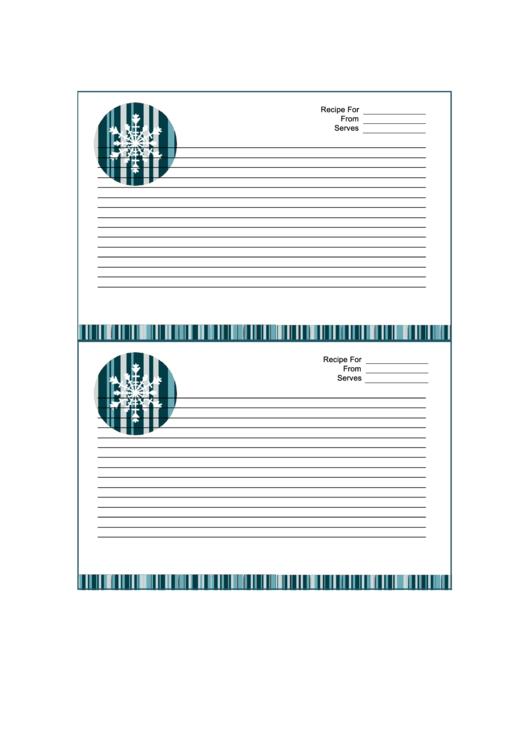 Winter Recipe Card 4x6