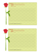 Valentine 4x6 Lined Recipe Card Template