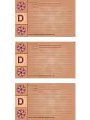 Alphabet - D 3x5 - Lined Recipe Card Template