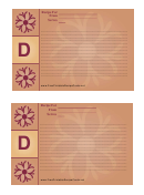 Alphabet - D 4x6 - Lined Recipe Card Template