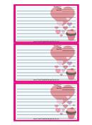 Valentines Cupcake Pink Recipe Card Template
