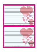 Valentines Cupcake 4x6 Pink Recipe Card Template