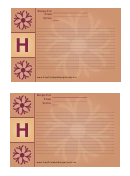 Alphabet - H 4x6 - Lined Recipe Card Template