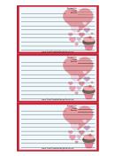 Valentines Cupcake Red Recipe Card Template